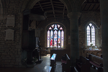 A stained glass window in Cotherstone Church